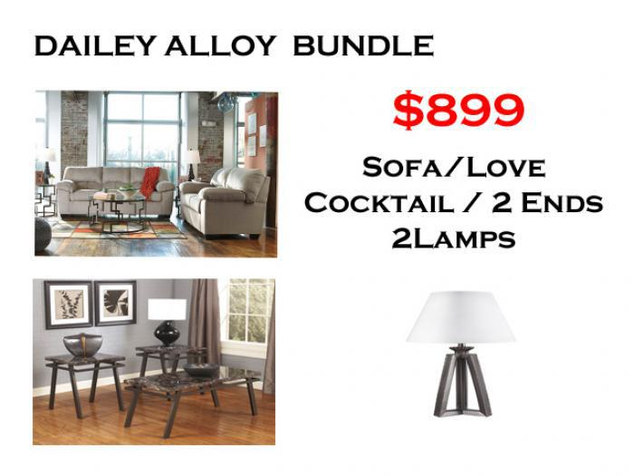 BUNDLE / Dailey Alloy Sofa / Love Coffee 2 Ends/ 2 Lamps,Brandywine Showcase
