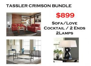 BUNDLE / Tassler Crimson Sofa / Love Cafe Coffee 2 Ends/ 2 Lamps