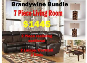 BUNDLE 2Pc Sectional/2 Lamps/Cocktail/2Ends