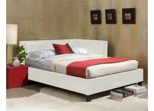 Full Corner Platform Bed Bicast White