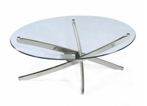 Cocktail Table Round Zila Brushed Nickel/Glass