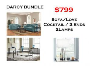 BUNDLE / Darcy Sofa / Love Sky Coffee 2 Ends/ 2 Lamps
