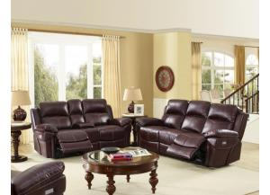Warner Brown Power Reclining Sofa/ Love With Power Head Rest/ and Memory seating