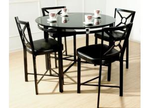 Park Avenue Black Metal Table and 4 Chairs,Brandywine Showcase