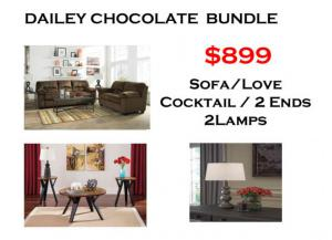 BUNDLE / Dailey Chocolate Sofa / Love Coffee 2 Ends/ 2 Lamps