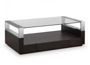 Revere Graphite Cocktail Table/Chrome/Glass