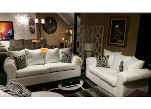 Passion Suede White Zebra Sofa/Love,Brandywine Showcase
