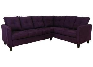 2PC Sectional Eggplant All Over