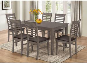 Dinette Worn Gray Table 6 Chairs,Brandywine Showcase