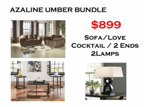 BUNDLE / Umber Sofa / Love/ Coffee 2 Ends/ 2 Lamps