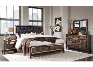 Chocolate Mirror Queen Storage Bed/D/M