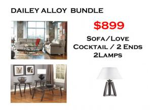BUNDLE / Dailey Alloy Sofa / Love Coffee 2 Ends/ 2 Lamps