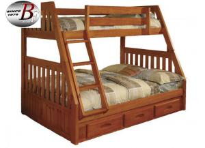 Honey Twin-over-Full Bunkbed w/ Drawers