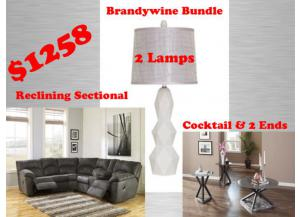 BUNDLE Reclining Sectional / Cocktail / 2Ends/2Lamps