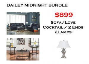 BUNDLE / Dailey Midnight Sofa / Love Coffee 2 Ends/ 2 Lamps