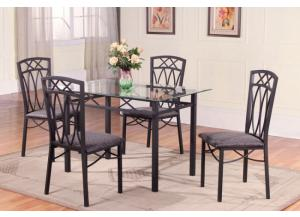 Flat Black Glass Table 4 Chairs